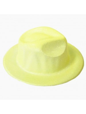 Yellow Glitzy Plastic Gangster Hat