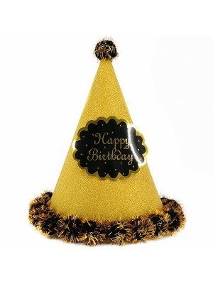 Gold Glitter 'Happy Birthday' Paper Hat