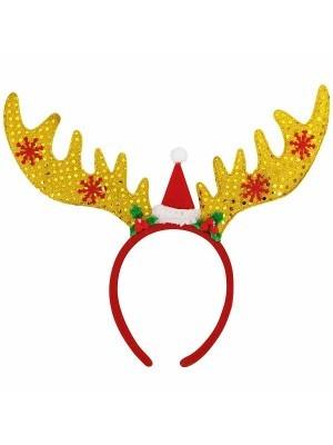 Gold Glitzy Reindeer Antlers Christmas Headband