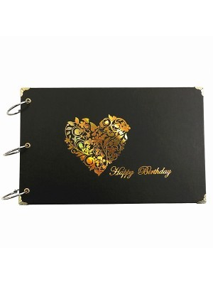 Happy Birthday Guestbook with Gold Heart