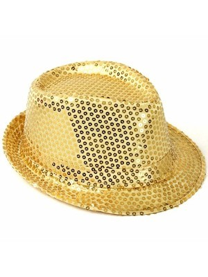 Super Cool Gold Sequin Gangster Hat