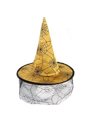 Gold Witches Hat With Face Web Netting