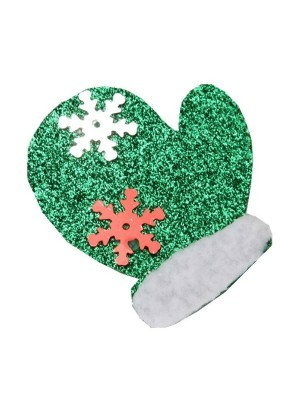 Green Mitten Christmas Hair Clip