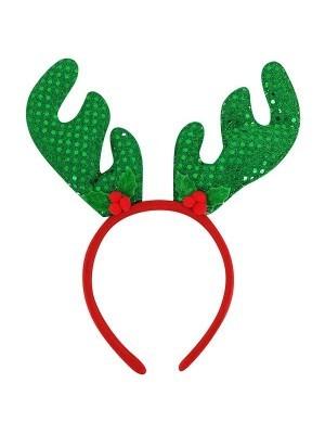 Green Sequin Deer Antlers Christmas Headband