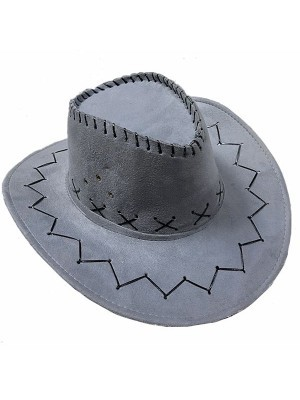 Grey Suede Effect Cowboy Hat