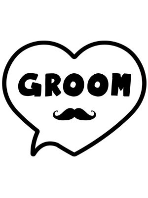 'Groom' Heart Bubble Photo Booth Prop