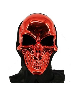 Halloween Fancy Dress Costume Evil Skeleton Grim Reaper Style Head Mask – Red