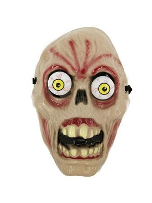 Rotten Terrified Skeleton with Popping Eyes Face Mask Halloween Fancy Dress Costume