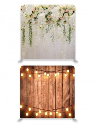 8ft*8ft Rustic Wood with Fairy Lights and Beautiful Pastel Flowers and Foliage Backdrop, With or Without Tension Frame