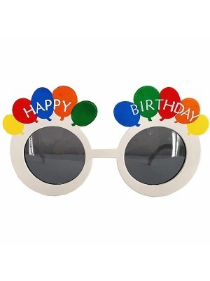 White Happy Birthday Rainbow Balloon Birthday Glasses