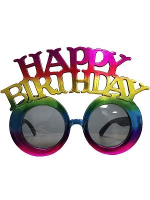 'Happy Birthday' Multicoloured Holographic Foil Birthday Glasses