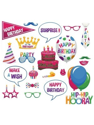 Pack of 22 Happy Birthday Card, Photo Booth Props On Sticks