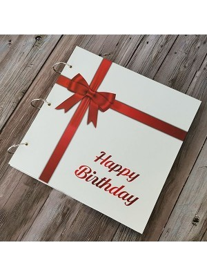Large Happy Birthday Guestbook with Red Ribbon