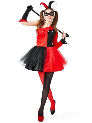 Harlequin Red and Black Jester Women's Halloween Costume