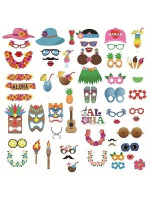 60pcs Hawaii Summer High Quality Photo Booth Party Props on Stick