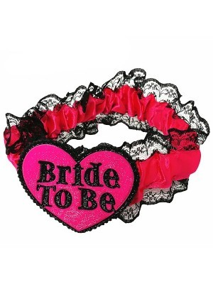 Glitter 'Bride To be' Black Pink Garter