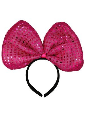 Hot Pink Sequin Bow Headband