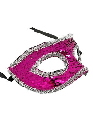 Sequin Masquerade Mask in Pink & Silver