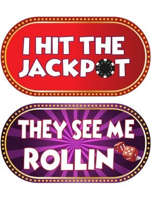 I Hit The Jackpot & They See Me Rollin', Double-Sided PVC Casino Photo Booth Word Board Signs