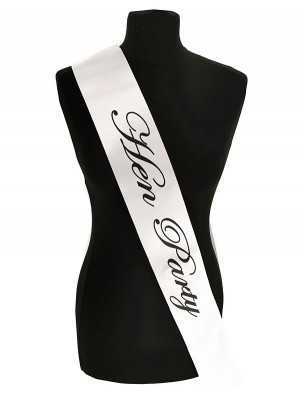 White With Black Writing 'Hen Party' Sash