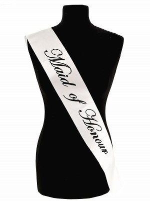 White With Black Writing 'Maid Of Honour' Sash