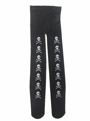 Kids Halloween Tights -  Pirate Glitzy Silver Skull & Cross Bones