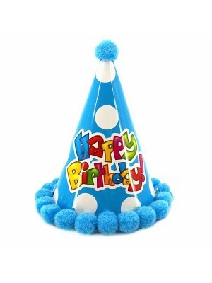 Kids Dark Blue 'Happy Birthday' Paper Hat