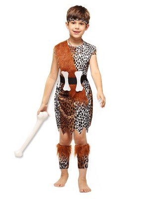 Kids Leopard Print Caveman Fancy Dress Costume