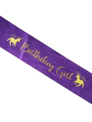 Kids Size Purple With Gold Unicorn 'Birthday Girl' Sash