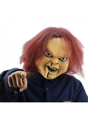 Killer Doll Face Mask with Red Hair Halloween Fancy Dress Costume