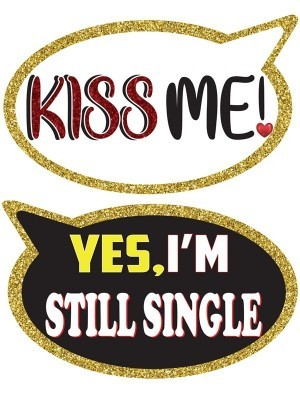 Kiss Me & Yes I'm Still Single, Double-Sided PVC Speech Bubble Photo Booth Word Board Signs
