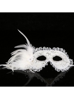 Lace Feathered Masquerade Mask in White