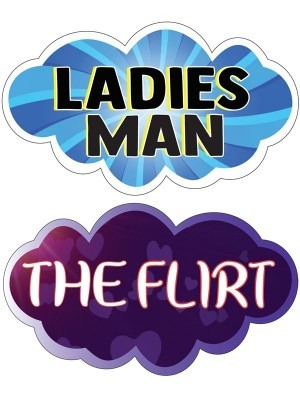 Ladies Man & The Flirt, Double-Sided PVC Cloud Photo Booth Word Board Signs