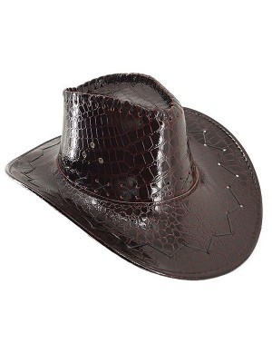 Dark Maroon Shiny Leather Effect Cowboy Hat