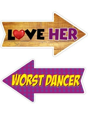 Love Her & Worst Dancer, Double-Sided PVC Arrow Photo Booth Word Board Signs