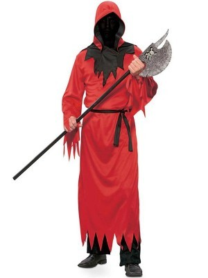 Hooded Red Fiend Fancy Dress Costume