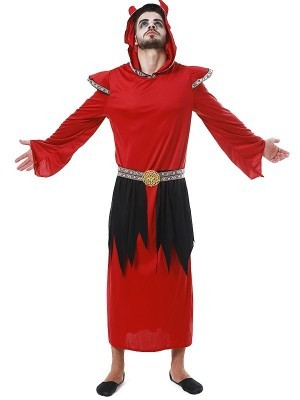 Male Red Satan Halloween Fancy Dress Costume – One Size