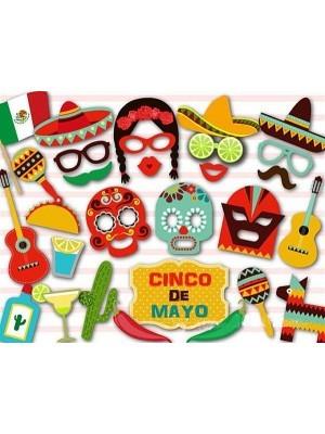 29pcs Mexican FDVIP Cinco De Mayo Sombrero Photo Booth Selfie Props on Sticks