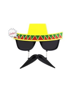 Mexican Sombrero Sunglasses With Moustache