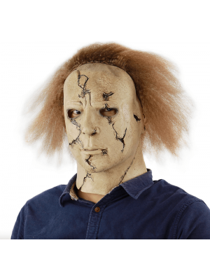 Mike's Expressionless Mask with Brown Hair Halloween Fancy Dress Costume