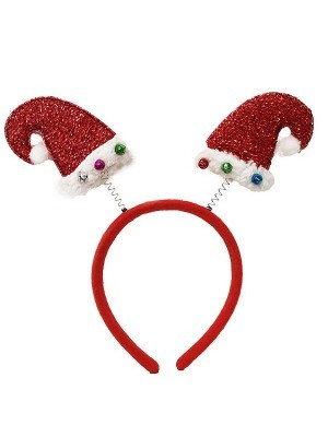 Mini Glitter Santa Hats Head Bopper Headband