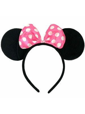 Mouse Style Ears and Light Pink Spotty Bow