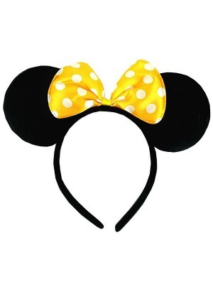 Mouse Style Ears and Yellow Spotty Bow