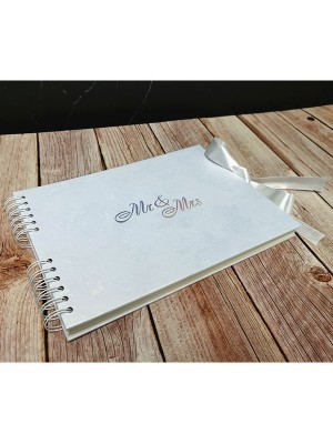 White Rose Patterned Guestbook with Silver 'Mr & Mrs ' Message
