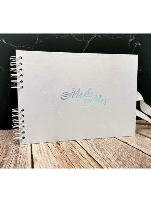 Good Size, White Rose Patterned Guestbook with Silver 'Mr & Mrs ' Message  with Printed Pages