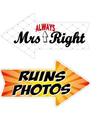 Mrs Always Right & Ruins Photos, Double-Sided PVC Arrow Photo Booth Word Board Signs