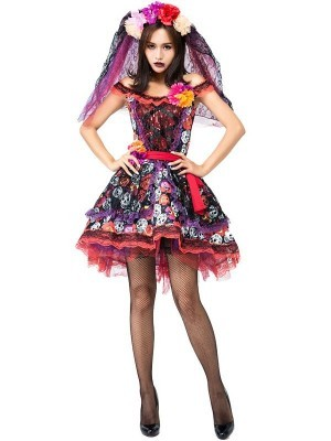 Multi-Coloured Skull and Roses Day of the Dead Women's Halloween Fancy Dress Costume