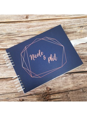CUSTOM Navy With Geometric Rose Gold Frame Guestbook with Different Page Options