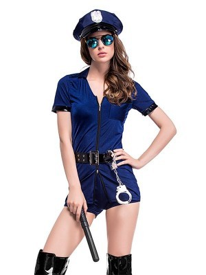 Navy-Blue Female Cop Sexy Fancy Dress Costume - UK Size 8