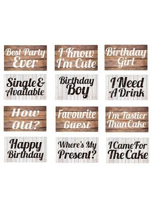 Set of 6 PVC Double-sided Rustic Themed Birthday Photo Booth Props